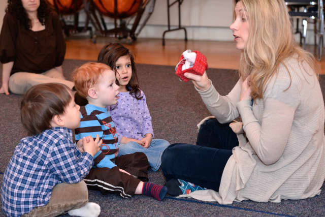 Laura Barnet teaches young children at Hoff-Barthelson Music School as they begin their journey through music.