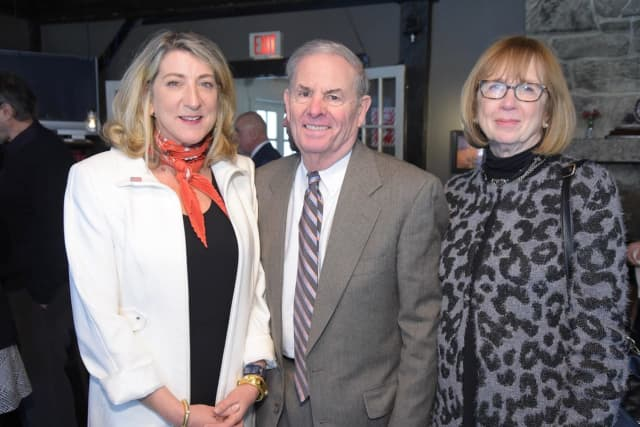 Leah Caro, President and Principal Broker of Park Sterling Realty, with Peter Riolo and Sharlene Forman.