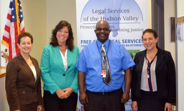 (from left) Barbara Finkelstein, LSHV CEO; Sen. Sue Serino; LSHV client and veteran Rodney Haith; Rachel Saunders, LSHV attorney-in-charge, Poughkeepsie office