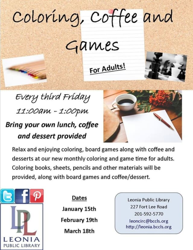 Coloring, board games and coffee ia available for adults every third Friday at the Leonia Public Library.