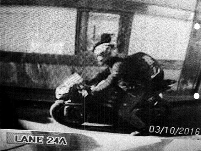 The motorcyclist is caught on surveillance video evading E-ZPass at the GWB, Port Authority police say.