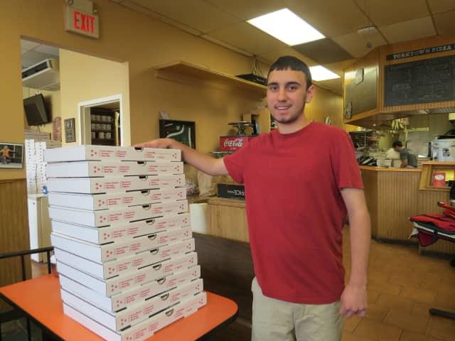 Joe Torrieri, 17, works at Yorktown Pizza and Pasta