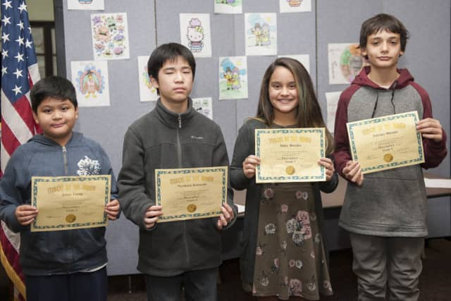 From left, December Students of the Month, Little Ferry Memorial Middle School: Grade 5 – Jonas Tayag, Grade 6 – Norikazu Kawasaki, Grade 7 – Haley Morales, and Grade 8 – Antonio Mironis.