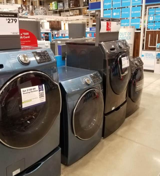 Look for the SUEZ rebate sign on qualifying washing machines and get an instant $100 rebate at Lowe's in Orangeburg or Nanuet. In-store rebates are also available on WaterSense toilets ($75) and showerheads ($15).
