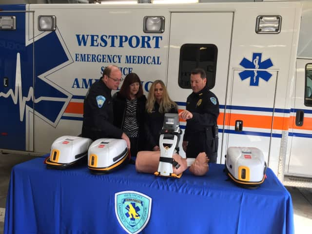 Westport Volunteer EMS Deputy Director Marc Hartog (right) demonstrates the new LUCAS 3 device