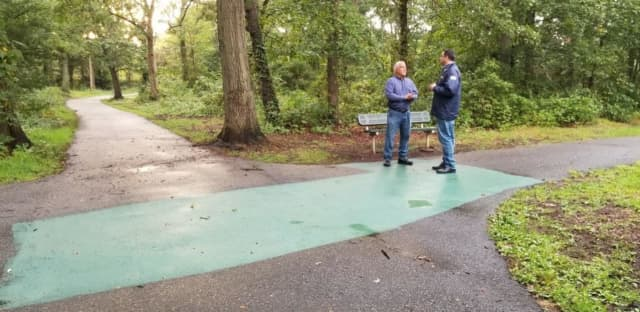 Supervisor Chad A. Lupinacci visits the park with Director of General Services, Andre Sorrentino.