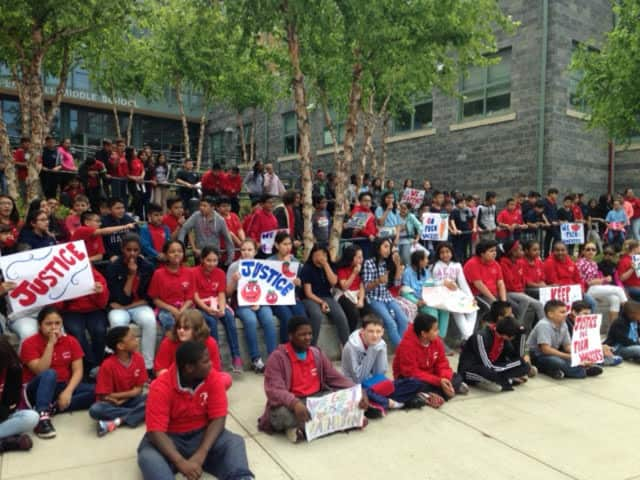 Students from Peekskill Middle School recently showed their support for an organization marching for farmer workers' rights.
