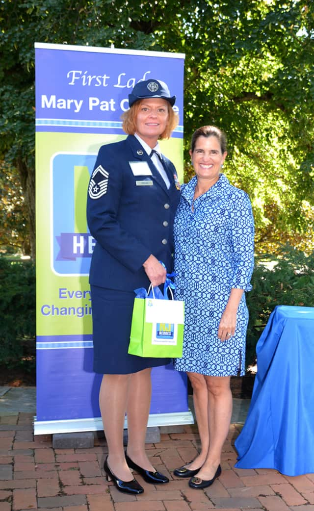 Senior Master Sgt. Marie Sheehan was honored by First Lady Mary Pat Christie.