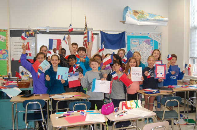 Sixth-graders at Middlesex Middle School wrote letters of support to students in Paris following the terrorist attacks last month.