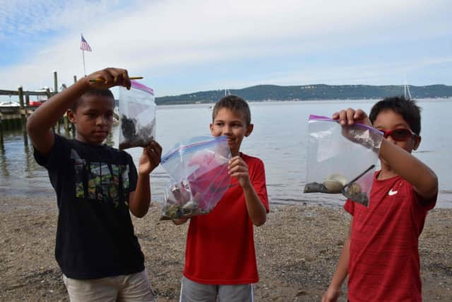 Main Street School fifth-graders study the Hudson River firsthand by collecting data at various stations set up along the river at Matthiessen Park on Sept. 23.