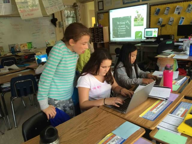 Main Street School fifth-graders are using their new ChromeBooks to blog with students from Argentina.