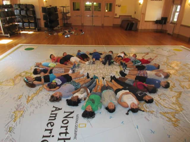Main Street School fifth-graders have welcomed National Geographic's life-sized traveling map to explore the map of North America through hands-on learning experiences.
