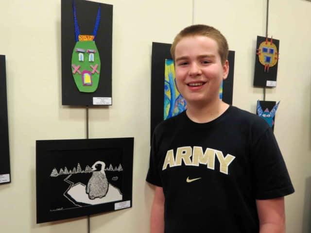Artwork by Briarcliff Middle School students is displayed at the Briarcliff Manor Public Library in celebration of Youth Art Month.