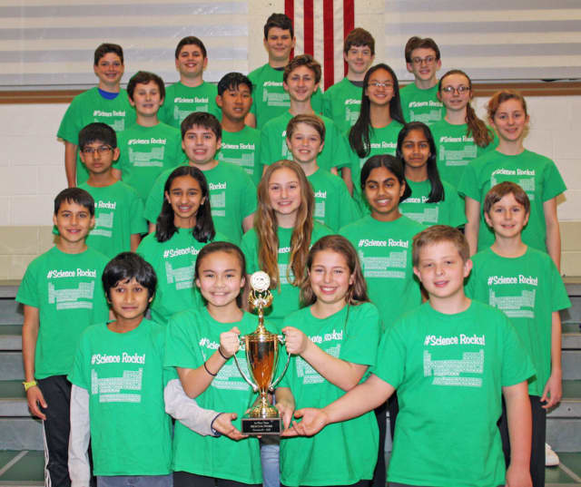 Pleasantville Middle School's Science Olympiad team following its first-place win at the Lower Hudson Regional Tournament on March 4.