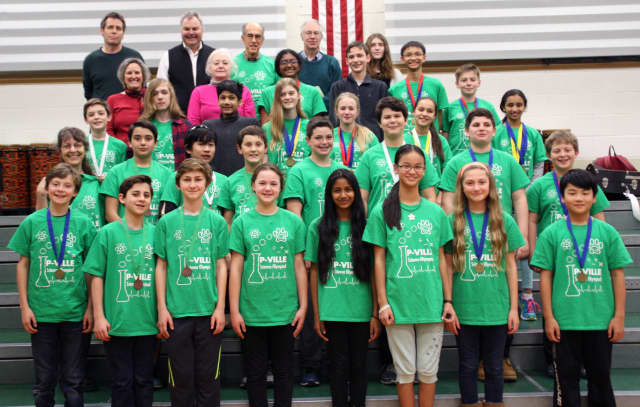 The Pleasantville Middle School Science Olympiad team.