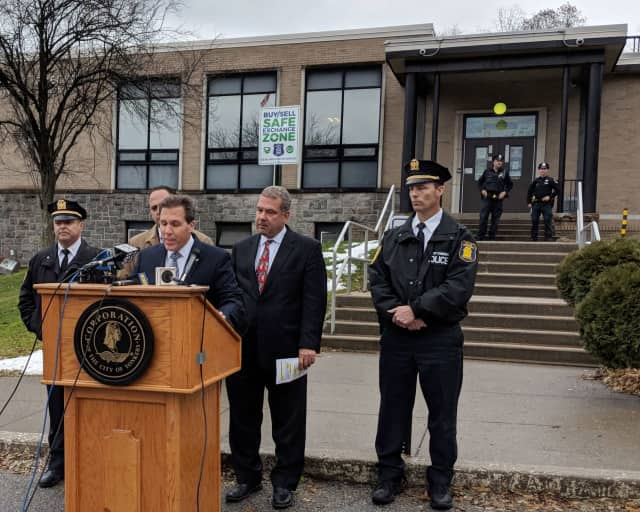 Yonkers Police Commissioner Charles Gardner and Mayor Mike Spano announcing the designation of Safe Exchange Zones.