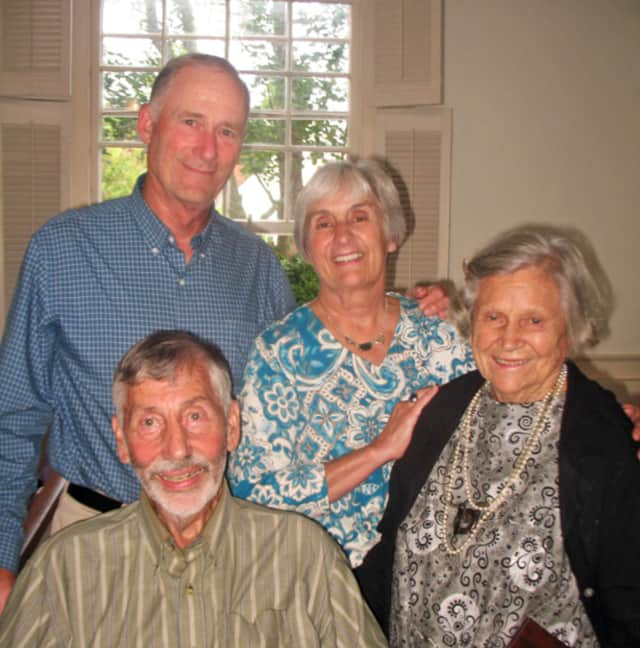 Olga Hirshhorn is shown here, 3rd from left, with 2013 MV medal winners at the Martha's Vineyard Museum. Also pictured, from left, Chris Murphy, Barbara Murphy, and Sheldon Hackney in front.