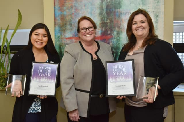 From left, April Ancheta, Ann Marie Leichman, vice president of Patient Care Services and chief nursing officer, and Lauren Piech.