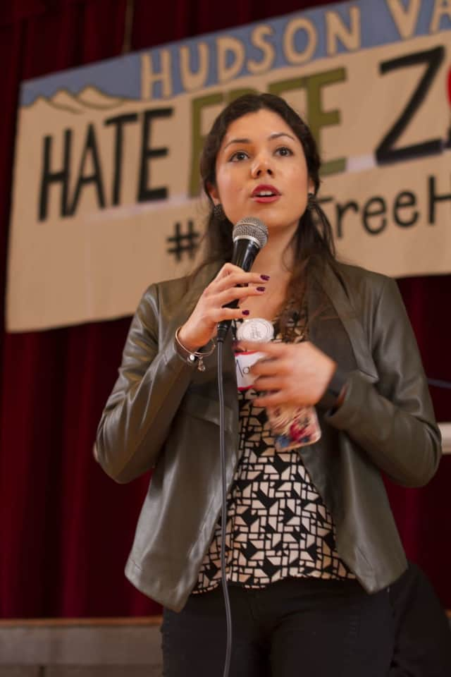"Maria Jaime, board president of the Hudson Valley Community Coalition, pledges her support to the ""Hate-Free Zone"" in Beacon Saturday. The White Plains group says it aims to build ""communities that foster social justice and cultural  awareness."""