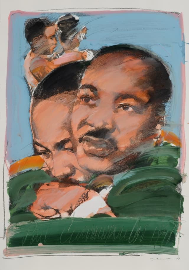 "Paul Giovanopoulos' ""Martin Luther King"" (1980), mixed media on paper. Bruce Museum Collection."