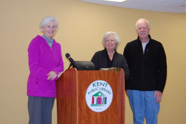 The Kent Library Board recently thanked state Assemblywoman Sandy Galef for working to secure a $50,000 state grant to make improvements to the library. Pictured Marty Collins, Assemblywoman Galef and Michael Mahoney.