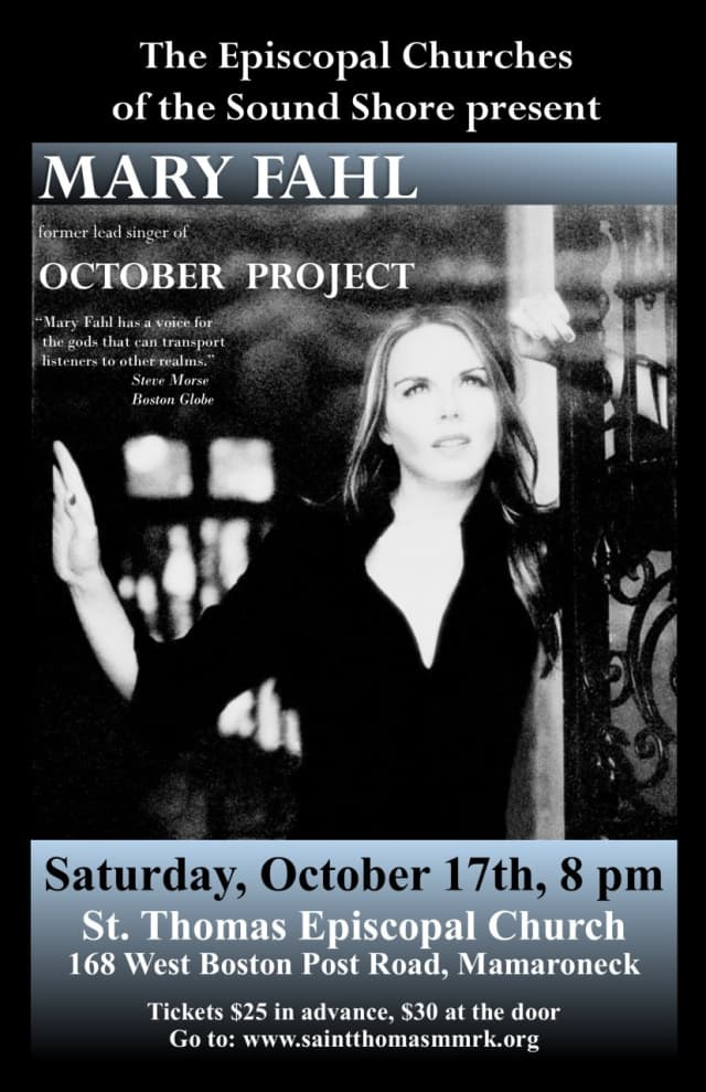 Singer and songwriter Mary Fahl will perform at St. Thomas Episcopal Church Oct. 17 to benefit the Brown Bag Lunch Program in New Rochelle.