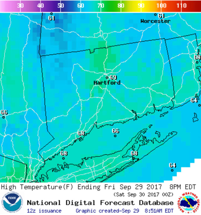 Temperatures will be in the mid to upper 60s this weekend in Fairfield County, and some rain is expected on Saturday.