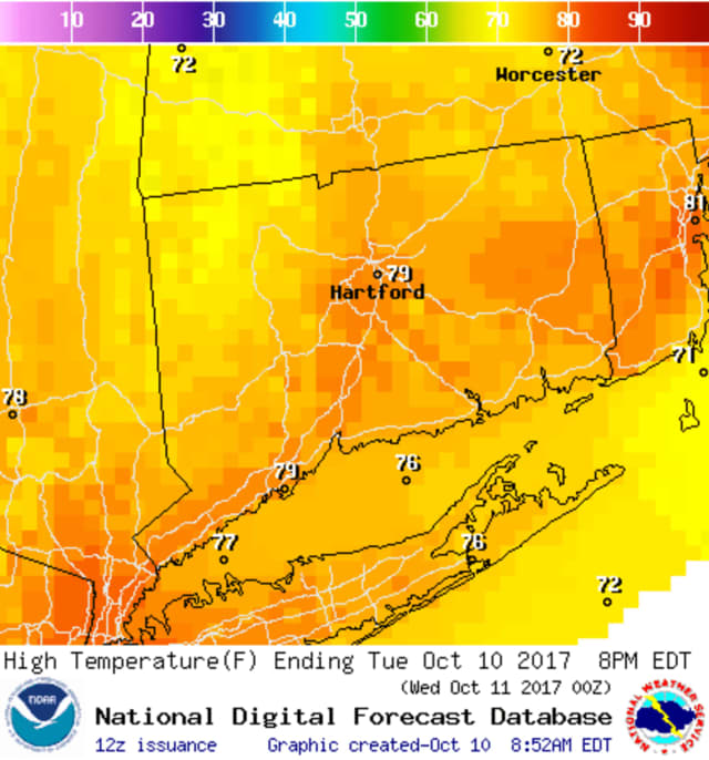 Temperatures will be in the mid to high 70s in Fairfield County on Tuesday
