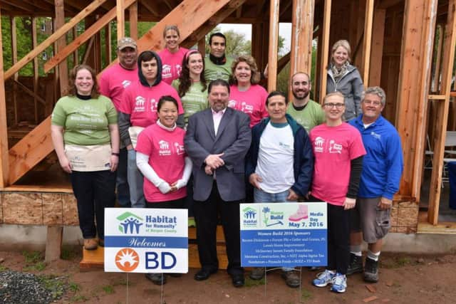 Two assemblywomen joined other volunteers on a May 7 Habitat Bergen build.