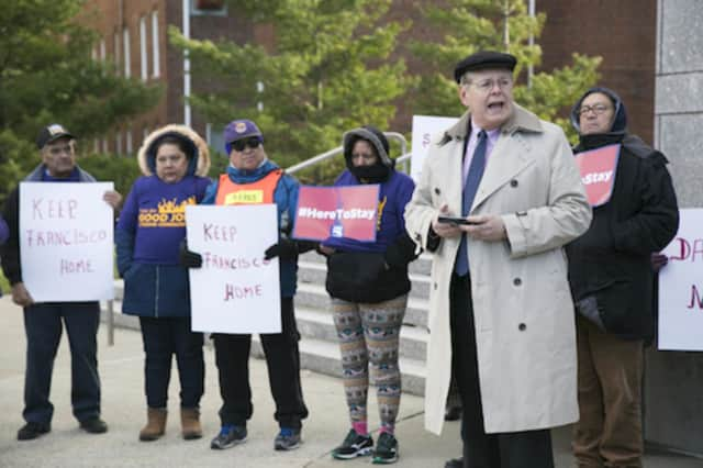 Stamford Mayor David Martin at a rally in December, declared a snow emergency in his city on Tuesday in anticipation of this month's fourth major nor-easter.