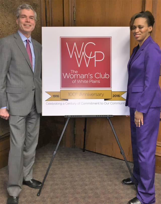 Mayor Tom Roach and Councilwoman and Woman's Club Member Nadine Hunt-Robinson Display the New Logo of The Woman's Club of White Plains