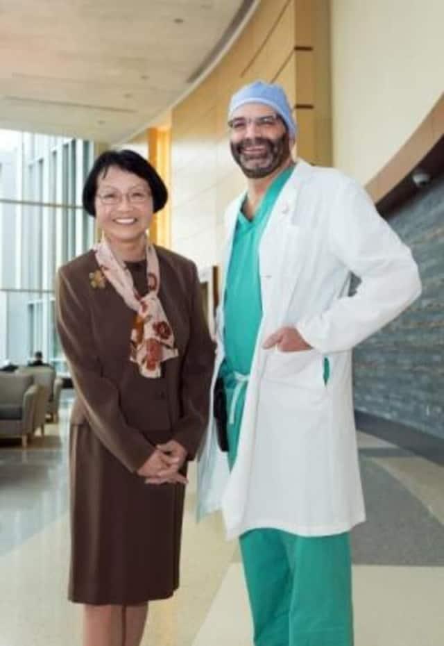 Yoriko McClure of Bridgewater with her cardiothoracic surgeon, Dr. Cary Passik of Danbury Hospital.