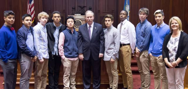 Sen. Michael McLachlan (center) on April 27 welcomes members of the Danbury High School Young Republicans Club to the State Capitol.