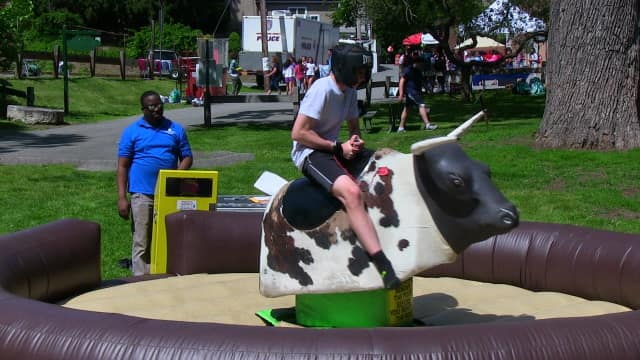 Croton students rode a mechanical bull at The Fest.