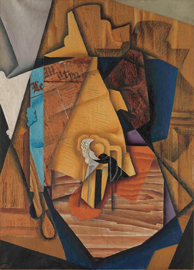 """Juan Gris (Spanish, 1887–1927), """"The Man at the Café,"""" Paris, 1914. Oil and newsprint collage on canvas, 39 × 28 1/4 in. (99.1 × 71.8 cm). The Metropolitan Museum of Art, Promised Gift from the Leonard A. Lauder Cubist Collection. Courtesy: The Metropolitan Museum of Art."""