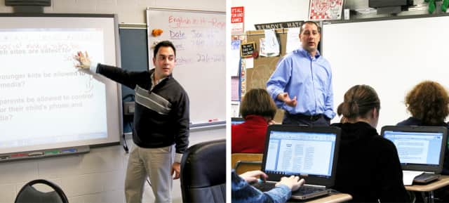 Michael Laterza (left) and Vincent Iovane, who teach English at Westlake High School in Thornwood, received the very first New York State English Council's Collaborators of Excellence Award for their excellence in team teaching.