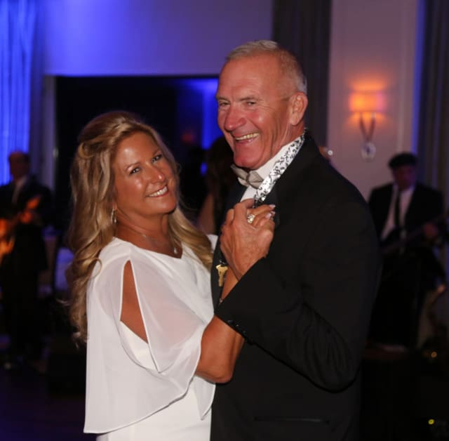 Monroe couple, Michele Macauda and husband Richard Burke, the gala's co-chairs, dance at the Kennedy Center's 52nd Annual Four Seasons Ball at Rolling Hills Country Club in Wilton.