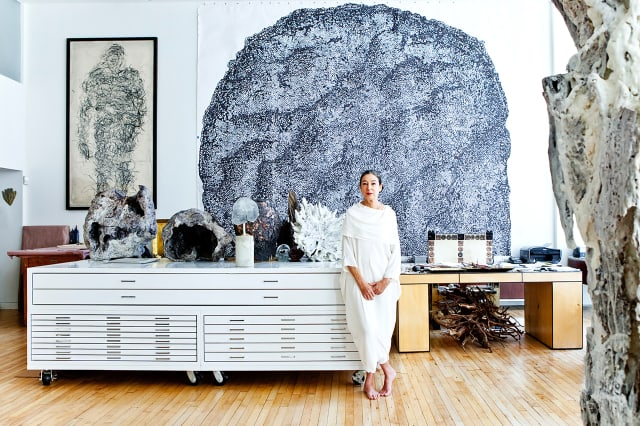 For artist Michele Oka Doner – a modern-day Hestia, goddess of the hearth – home is truly where the heart is. She's seen here in her lucent SoHo loft-studio. Photograph by Gerald Forster.
