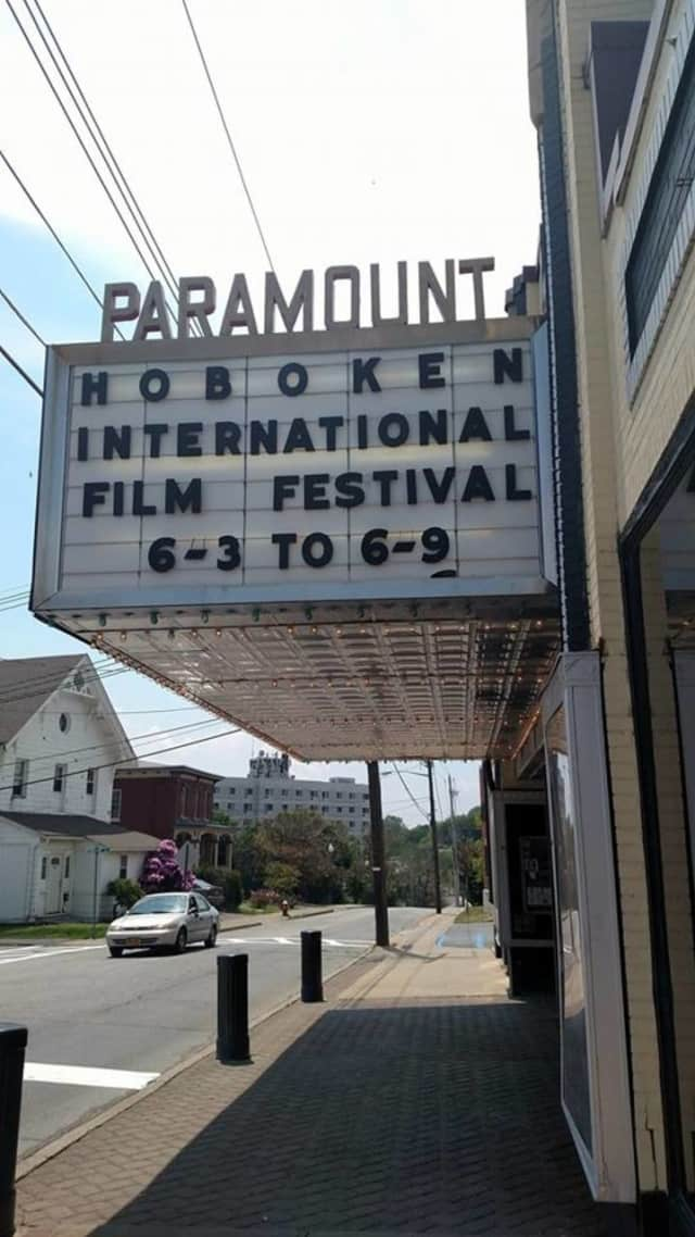The marquee of the Paramount Theatre of Middletown advertising this year's Hoboken International Film Festival.