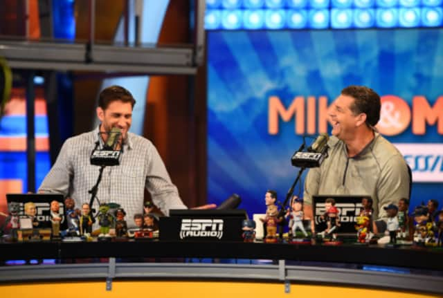 "Mike Greenberg, left, and Mike Golic, are the co-hosts of ""Mike & Mike"" on ESPN Radio."