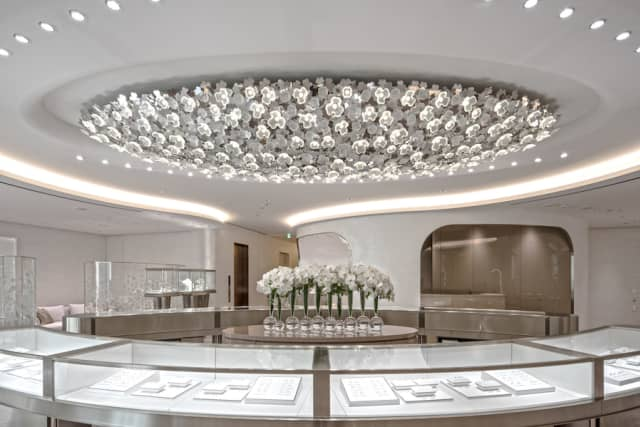 Lalique's Interior Design Studio worked on a new light sculpture for the Mikimoto boutique in Tokyo.  Inspired by the clover motif, the Lalique team developed a chandelier made up of 355 crystal clovers using new manufacturing techniques. Courtesy Lalique.