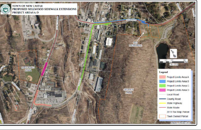 A map showing the Millwood sidewalks extension project.