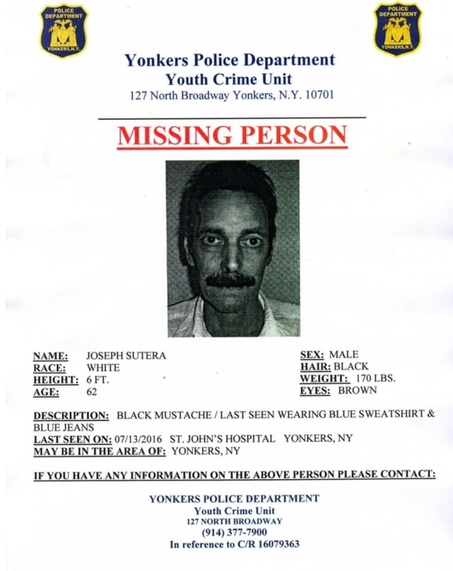 The Yonkers Police Department is searching for Joseph Sutera, who has gone missing.