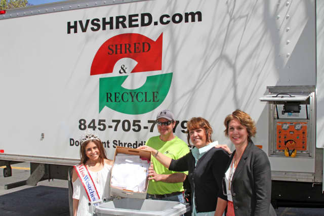 Morgan Modugno, Miss Westchester 2016, joined in the recent shredding festivities.