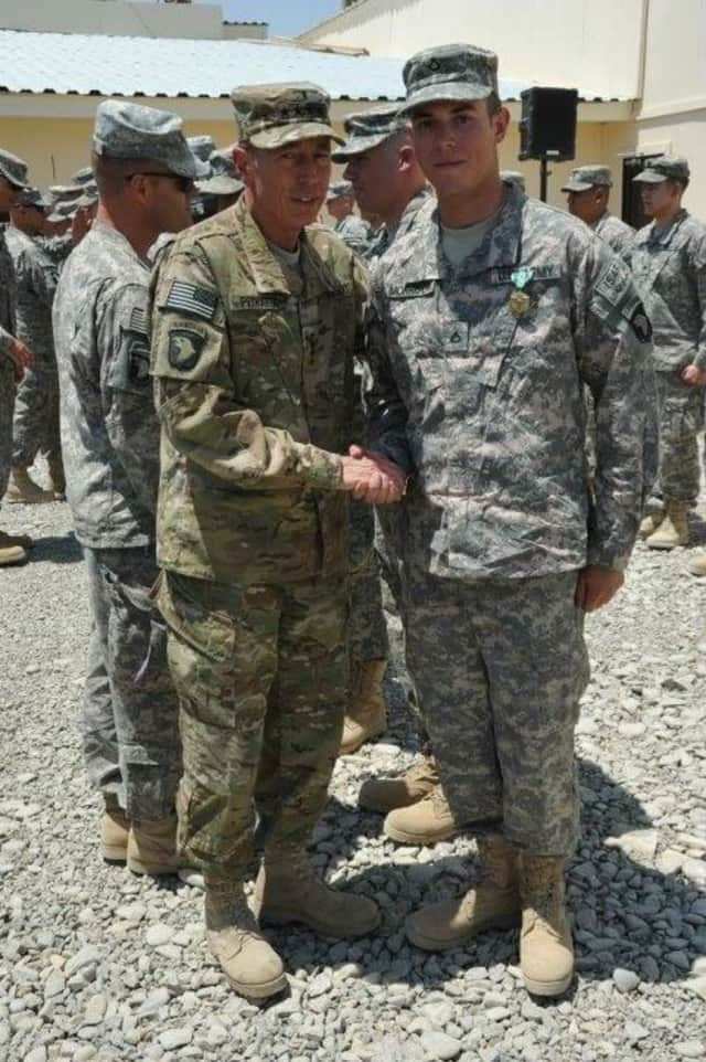 Rockland native James Morrison, a U.S. Army sergeant, is shown with Gen. David Petraeus