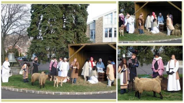 Members of The First United Methodist Church of Stamford's congregation re-enact the Nativity scene in 2012.