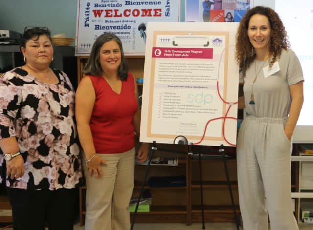 Deysy Pelaez, clinical coordinator of the Respiratory Care Program at NCC; Kristina Testa-Buzzee, interim associate dean of Extended Studies at NCC; and Anka Badurina, Skills Development Program director at Neighbors Link Stamford.