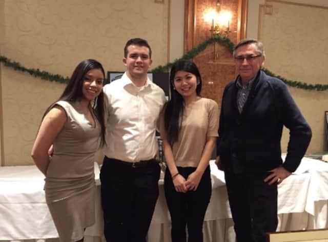 Winning students Stephany Beltran, Luke Amiot, Maki Nanko and NCC Professor Jacek Bigosinski celebrate the awards.