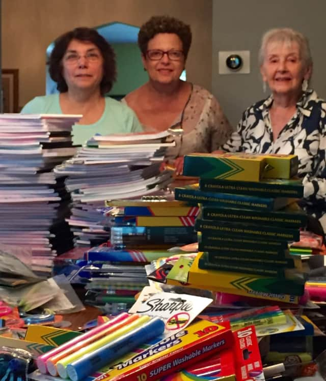 National Council of Jewish Women members packing school supplies ready for the new school year.