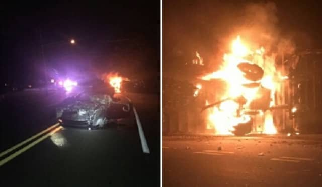 Both had already gotten out of their vehicles when police found the donut delivery truck on its side engulfed in flames, Van Saders said.